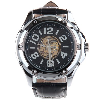 ФОТО HY-011 Hollow-out Male Automatic Mechanical Watch PU band