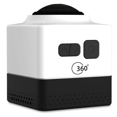 Cube 360 WiFi 360 Degree Wide Angle Action CameraCube 360 WiFi 360 Degree Wide Angle Action Camera<br><br>Model: Cube 360<br>Type: Sports Camera<br>Chipset Name: GVT100M<br>Chipset: GVT100M<br>Max External Card Supported: TF 32G (not included)<br>Class Rating Requirements: Class 10 or Above<br>Battery Type: Built-in<br>Capacity: 1300mAh<br>Power Supply: 5V 1.5A<br>Charge way: USB charge by PC<br>Working Time: 180min (WiFi off), 90min (WiFi on)<br>Decode Format: H.264<br>Video format: TS<br>Video Resolution: 1280 x 1024<br>Video System: NTSC<br>Audio System: Built-in microphone/speacker (AAC)<br>Interface Type: Micro USB,TF Card Slot<br>Product weight: 0.077 kg<br>Package weight: 0.459 kg<br>Product size (L x W x H): 4.20 x 4.20 x 4.80 cm / 1.65 x 1.65 x 1.89 inches<br>Package size (L x W x H): 14.00 x 13.80 x 11.00 cm / 5.51 x 5.43 x 4.33 inches<br>Package Contents: 1 x 360 Degree Action Camera Recorder, 1 x Bike Handlebar Holder, 2 x Flat Surface Base + 3M Sticker, 1 x USB Cable, 1 x 1/4 Adapter, 1 x Tripod Adapter, 1 x Short Connector + Short Screw, 1 x Long Co
