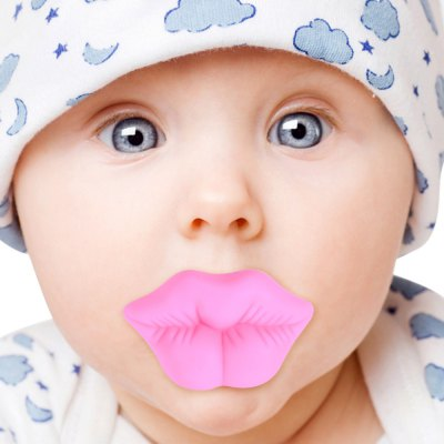 Silicone Pink Lip Shape Baby Pacifier Infant Soother