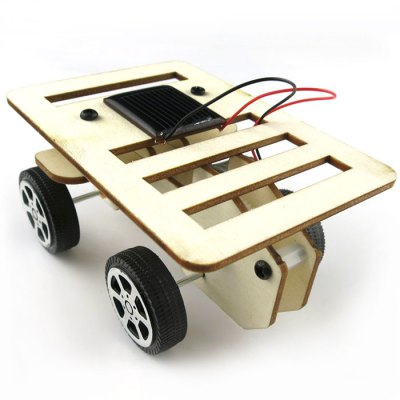 DIY Solar Wooden Car Mini No.1 Simple Model Science Toy with Solar Panel