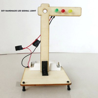 DIY LED Signal Light Wooden Educational Toy