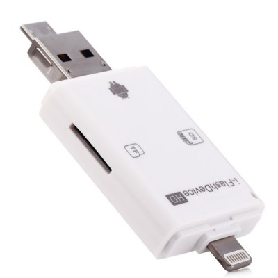USB 8 Pin Interface Dual Storage Card Reader for iOS