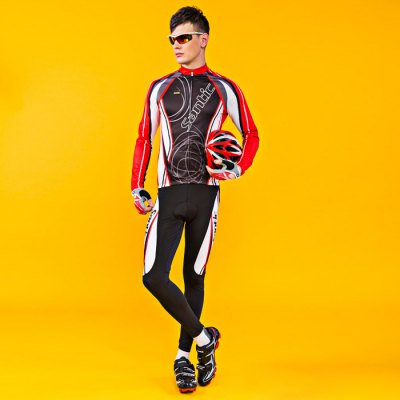 Santic WMCT023 Male Long Sleeves Cycling Suit 4D Stereo Cushion