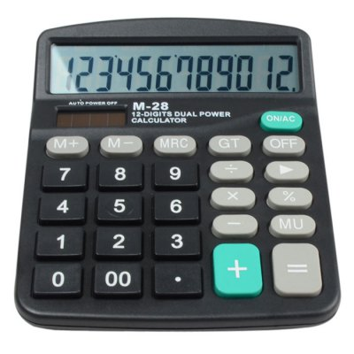 M-28 12 Digit Dual Power Solar CalculatorStationery Supplies<br>M-28 12 Digit Dual Power Solar Calculator<br><br>Type: Button<br>Powerd By: AA battery<br>Multi-Function: Calculator<br>Material: ABS<br>Color: Black<br>Product weight: 0.129 kg<br>Package weight: 0.180 kg<br>Product size (L x W x H): 14.45 x 11.70 x 3.50 cm / 5.69 x 4.61 x 1.38 inches<br>Package size (L x W x H): 15.45 x 12.70 x 4.50 cm / 6.08 x 5.00 x 1.77 inches<br>Package Contents: 1 x M-28 12 Digit Solar Calculator, 1 x Bilingual Manual in English and Chinese