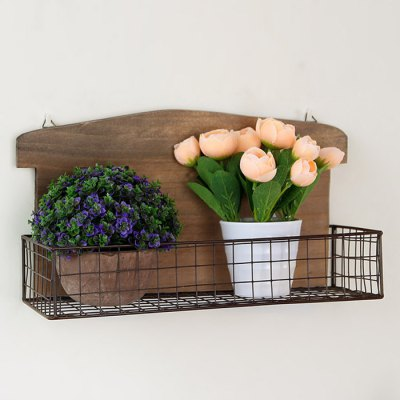 Wooden Wall Mounted Rack Flower Storage Shelf