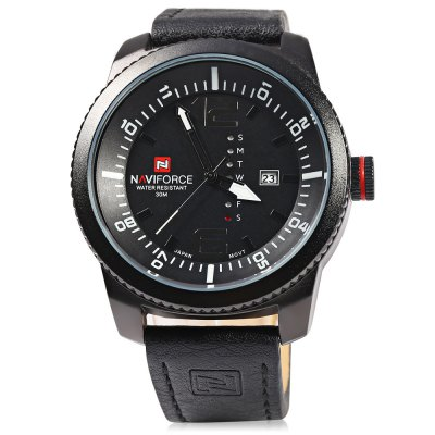 NAVIFORCE 9063M Male Quartz WatchMens Watches<br>NAVIFORCE 9063M Male Quartz Watch<br><br>Brand: Naviforce<br>Watches categories: Male table<br>Movement type: Quartz watch<br>Shape of the dial: Round<br>Display type: Analog<br>Case material: Stainless Steel<br>Band material: Leather<br>Clasp type: Pin buckle<br>Special features: Date,Day<br>Water resistance : 30 meters<br>The dial thickness: 12 mm<br>The dial diameter: 50 mm<br>The band width: 22 mm<br>Wearable length: 195 mm - 245 mm<br>Product weight: 0.095KG<br>Package weight: 0.125 KG<br>Product size (L x W x H): 26.80 x 5.50 x 1.20 cm / 10.55 x 2.17 x 0.47 inches<br>Package size (L x W x H): 27.80 x 6.50 x 2.20 cm / 10.94 x 2.56 x 0.87 inches<br>Package Contents: 1 ? NAVIFORCE 9063M Male Quartz Watch
