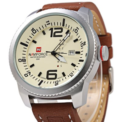 NAVIFORCE NF 9063M Male Quartz WatchMens Watches<br>NAVIFORCE NF 9063M Male Quartz Watch<br><br>Brand: Naviforce<br>Watches categories: Male table<br>Movement type: Quartz watch<br>Shape of the dial: Round<br>Display type: Analog<br>Case material: Stainless Steel<br>Band material: Leather<br>Clasp type: Pin buckle<br>Special features: Date,Day<br>Water resistance : 30 meters<br>The dial thickness: 12 mm<br>The dial diameter: 50 mm<br>The band width: 22 mm<br>Wearable length: 195 mm - 245 mm<br>Product weight: 0.095 kg<br>Package weight: 0.125 kg<br>Product size (L x W x H): 26.80 x 5.50 x 1.20 cm / 10.55 x 2.17 x 0.47 inches<br>Package size (L x W x H): 27.80 x 6.50 x 2.20 cm / 10.94 x 2.56 x 0.87 inches<br>Package Contents: 1 ? NAVIFORCE NF 9063M Male Quartz Watch