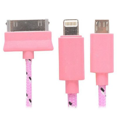 ФОТО 3 in 1 20cm 8pin 30pin Micro USB Interface Data Sync / Charging Cable for iPhone 6 / 6 Plus iPhone 4 Samsung