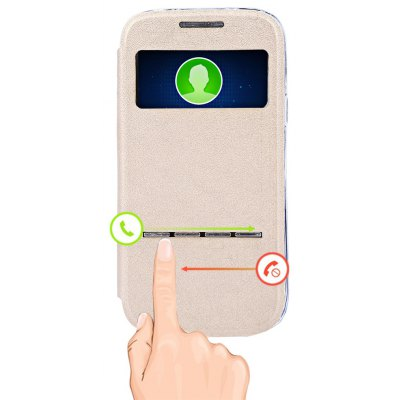 Matte Folding Leather Protective Cover Smart Metal SlidingAnswer Phone Case for Samsung Galaxy S4 Mini