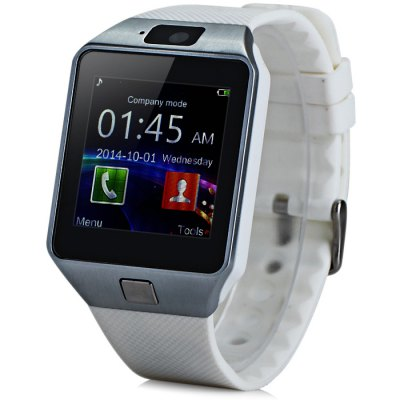 DZ09D Single SIM Smart Watch PhoneSmart Watch Phone<br>DZ09D Single SIM Smart Watch Phone<br><br>Type: Watch Phone<br>CPU: MTK6261<br>RAM: 32MB<br>ROM: 32MB<br>External Memory: TF card up to 32GB (not included)<br>Compatible OS: Android<br>Wireless Connectivity: Bluetooth<br>Network type: GSM<br>Frequency: GSM850/900/1800/1900MHz<br>Bluetooth: Yes<br>Bluetooth version: V3.0<br>Screen size: 1.54 inch<br>Screen resolution: 240 x 240<br>Camera type: Single camera<br>Front camera: 0.057MP<br>SIM Card Slot: Single SIM(Micro SIM slot)<br>TF card slot: Yes<br>Speaker: Supported<br>Languages: English, Italian, German, Spanish, French, Polish, Portuguese, Arabic, Persian<br>Additional Features: 2G,Alarm,Bluetooth,Calendar,MP3,Notification,People,Sound Recorder<br>Functions: Pedometer,Sedentary reminder,Sleep monitoring<br>Cell Phone: 1<br>Battery: 1 x 380mAh<br>USB Cable: 1<br>English Manual : 1<br>Product size: 4.35 x 4.00 x 0.98 cm / 1.71 x 1.57 x 0.39 inches<br>Package size: 11.00 x 11.00 x 9.00 cm / 4.33 x 4.33 x 3.54 inches<br>Product weight: 0.051 kg<br>Package weight: 0.250 kg