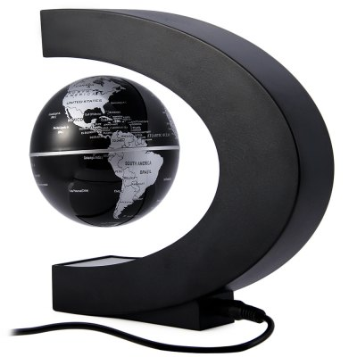C Shape Magnetic Levitation Floating Globe World Map with LED Light Decoration for Home Office