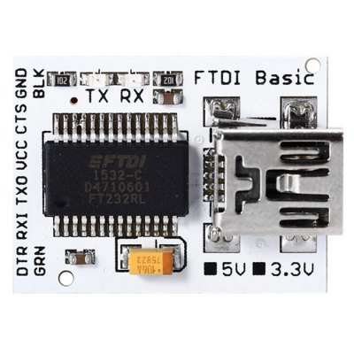 FTDI Basic Mini USB to TTL Serial Port PlateBoards &amp; Shields<br>FTDI Basic Mini USB to TTL Serial Port Plate<br><br>Type: USB to TTL MWC Programing Unit Serial Port Plate Muodule<br>Mainly Compatible with: Ardunio<br>Input Voltage: 3.3-5V<br>Product weight: 0.002 kg<br>Package weight: 0.014 kg<br>Product Size(L x W x H): 2.30 x 1.70 x 0.80 cm / 0.91 x 0.67 x 0.31 inches<br>Package Size(L x W x H): 8.00 x 6.00 x 2.00 cm / 3.15 x 2.36 x 0.79 inches<br>Package Contents: 1 x USB to TTL MWC Programing Unit Serial Port Plate Module