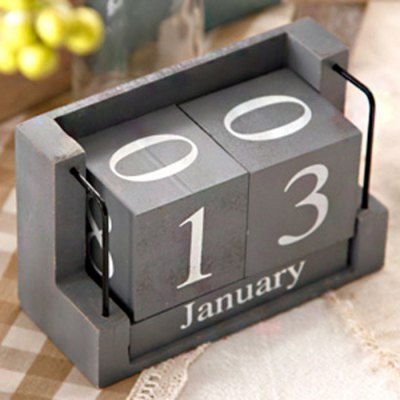 Wooden Perpetual Calendar for Desk Decoration Craft