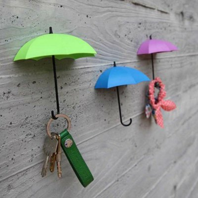 3PCS Umbrella Shape Hook Decoration Home Paste