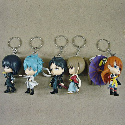 6 - 8cm Height 5 / Set GINTAMA Style Key Ring Gift for Kids