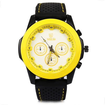 Valia 9131 Male Quartz Watch Rubber Strap for OutdoorMens Watches<br>Valia 9131 Male Quartz Watch Rubber Strap for Outdoor<br><br>Brand: Valia<br>Watches categories: Male table<br>Watch style: Fashion<br>Style elements: Stainless Steel<br>Available color: Blue,Green,Yellow<br>Movement type: Quartz watch<br>Shape of the dial: Round<br>Display type: Analog<br>Case material: Stainless Steel<br>Band material: Rubber<br>Clasp type: Pin buckle<br>Special features: Decorating small sub-dials<br>The dial thickness: 1.2 cm / 0.47 inches<br>The dial diameter: 4.6 cm / 1.8 inches<br>The band width: 2.3 cm / 0.9 inches<br>Wearable length: 17.5 - 22.2 cm / 6.88 - 8.74 inches<br>Product weight: 0.068KG<br>Package weight: 0.098 KG<br>Product size (L x W x H): 25.90 x 5.30 x 1.20 cm / 10.2 x 2.09 x 0.47 inches<br>Package size (L x W x H): 26.90 x 6.30 x 2.20 cm / 10.59 x 2.48 x 0.87 inches<br>Package Contents: 1 x Watch