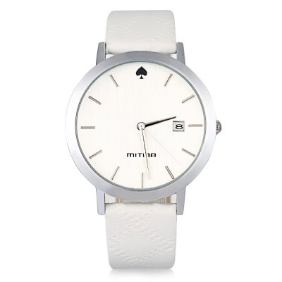 Mitina M303 Date Spade Pattern Ladies Japan Quartz WatchWomens Watches<br>Mitina M303 Date Spade Pattern Ladies Japan Quartz Watch<br><br>Brand: Mitina<br>Watches categories: Female table<br>Available color: Black,Red,White<br>Style: Fashion&amp;Casual<br>Movement type: Quartz watch<br>Shape of the dial: Round<br>Display type: Analog<br>Case material: Stainless Steel<br>Band material: Leather<br>Clasp type: Pin buckle<br>Special features: Date<br>The dial thickness: 0.9 cm / 0.35 inches<br>The dial diameter: 3.9 cm / 1.53 inches<br>The band width: 1.8 cm / 0.71 inches<br>Wearable length: 16.3 - 20.3 cm / 6.4 - 8 inches<br>The band length: 22.5 cm / 8.85 inches<br>Product weight: 0.035KG<br>Package weight: 0.065 KG<br>Product size (L x W x H): 24.00 x 3.90 x 0.90 cm / 9.45 x 1.54 x 0.35 inches<br>Package size (L x W x H): 25.00 x 4.90 x 1.90 cm / 9.84 x 1.93 x 0.75 inches<br>Package Contents: 1 x Mitina M303 Watch
