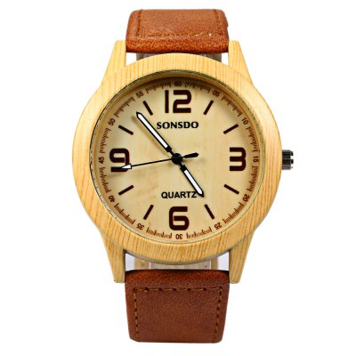 SONSDO 6635B Unisex Quartz Wristwatch Wood Style Leather StrapUnisex Watches<br>SONSDO 6635B Unisex Quartz Wristwatch Wood Style Leather Strap<br><br>Brand: SONSDO<br>People: Unisex table<br>Watch style: Fashion<br>Available color: Black,Brown,White<br>Shape of the dial: Round<br>Movement type: Quartz watch<br>Display type: Analog<br>Case material: Stainless Steel<br>Band material: Leather<br>Clasp type: Pin buckle<br>The dial thickness: 0.9 cm / 0.35 inches<br>The dial diameter: 4 cm / 1.57 inches<br>The band width: 2 cm / 0.78 inches<br>Wearable length: 16.7 - 20.6 cm / 6.57 - 8.11 inches<br>Product weight: 0.035KG<br>Package weight: 0.065 KG<br>Product size (L x W x H): 24.00 x 4.30 x 0.90 cm / 9.45 x 1.69 x 0.35 inches<br>Package size (L x W x H): 25.00 x 5.30 x 1.90 cm / 9.84 x 2.09 x 0.75 inches<br>Package Contents: 1 x SONSDO 6635B Watch