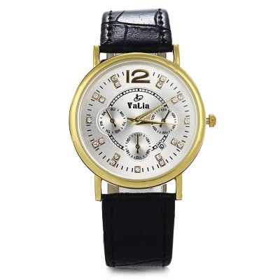 Valia 6606 Diamond Female Quartz Watch Date Display WristwatchWomens Watches<br>Valia 6606 Diamond Female Quartz Watch Date Display Wristwatch<br><br>Brand: Valia<br>Watches categories: Female table<br>Available color: Black,Gold,White<br>Style: Diamond,Stainless Steel<br>Movement type: Quartz watch<br>Shape of the dial: Round<br>Display type: Analog<br>Case material: Stainless Steel<br>Case color: Gold<br>Band material: Leather<br>Clasp type: Pin buckle<br>Water resistance : Life water resistant<br>Special features: Date,Decorating small sub-dials<br>The dial thickness: 0.8 cm / 0.3 inches<br>The dial diameter: 3.8 cm / 1.5 inches<br>The band width: 2.0 cm / 0.8 inches<br>Wearable length: 16.2 - 20.5 cm / 6.3 - 8 inches<br>The band length: 22.6 cm / 8.9 inches<br>Product weight: 0.035KG<br>Package weight: 0.065 KG<br>Product size (L x W x H): 23.90 x 4.00 x 0.80 cm / 9.41 x 1.57 x 0.31 inches<br>Package size (L x W x H): 24.90 x 5.00 x 1.80 cm / 9.8 x 1.97 x 0.71 inches<br>Package Contents: 1 x Watch