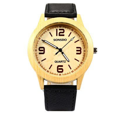 SONSDO 6635B Unisex Quartz Wristwatch Wood Style Leather StrapUnisex Watches<br>SONSDO 6635B Unisex Quartz Wristwatch Wood Style Leather Strap<br><br>Brand: SONSDO<br>People: Unisex table<br>Watch style: Fashion<br>Available color: Black,Brown,White<br>Shape of the dial: Round<br>Movement type: Quartz watch<br>Display type: Analog<br>Case material: Stainless Steel<br>Band material: Leather<br>Clasp type: Pin buckle<br>The dial thickness: 0.9 cm / 0.35 inches<br>The dial diameter: 4 cm / 1.57 inches<br>The band width: 2 cm / 0.78 inches<br>Wearable length: 16.7 - 20.6 cm / 6.57 - 8.11 inches<br>Product weight: 0.035 kg<br>Package weight: 0.065 kg<br>Product size (L x W x H): 24.00 x 4.30 x 0.90 cm / 9.45 x 1.69 x 0.35 inches<br>Package size (L x W x H): 25.00 x 5.30 x 1.90 cm / 9.84 x 2.09 x 0.75 inches<br>Package Contents: 1 x SONSDO 6635B Watch