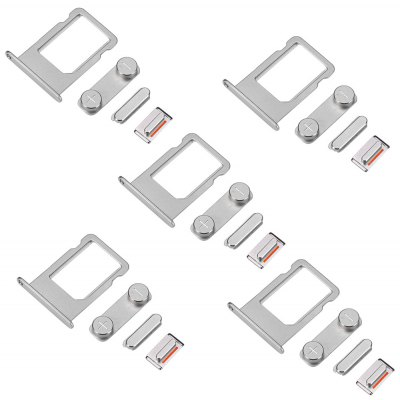 5 Sets SIM Card Tray Slot with Side Button Switch Relace Components for iPhone 5S