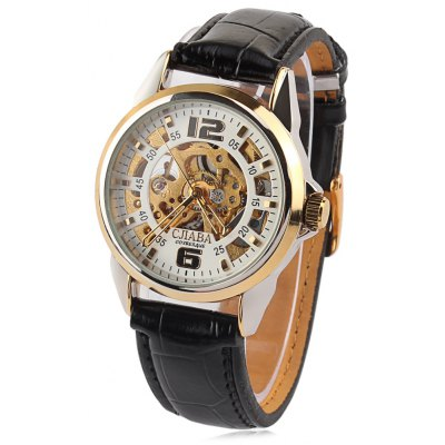 CJIABA Hollow-out Male Automatic Mechanical Watch PU Strap