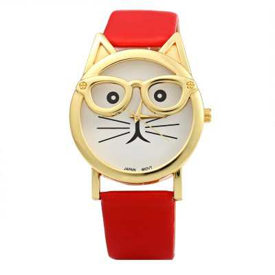 Japan Quartz Watch Cat Shape Dial with Glasses for WomenWomens Watches<br>Japan Quartz Watch Cat Shape Dial with Glasses for Women<br><br>Available Color: Black,Brown,Red,White<br>Band material: Leather<br>Band size: 24.0 x 1.8 cm / 9.45 x 0.71 inches<br>Case material: Stainless Steel<br>Clasp type: Pin buckle<br>Dial size: 3.7 x 3.7 x 0.9 cm / 1.46 x 1.46 x 0.35 inches<br>Display type: Analog<br>Movement type: Quartz watch<br>Package Contents: 1 x Female Watch<br>Package size (L x W x H): 25.00 x 5.00 x 1.90 cm / 9.84 x 1.97 x 0.75 inches<br>Package weight: 0.062 kg<br>Product size (L x W x H): 24.00 x 4.00 x 0.90 cm / 9.45 x 1.57 x 0.35 inches<br>Product weight: 0.032 kg<br>Shape of the dial: Cat shape<br>Watch style: Fashion<br>Watches categories: Female table<br>Wearable length: 18.0 - 22.0 cm / 7.09 - 8.66 inches