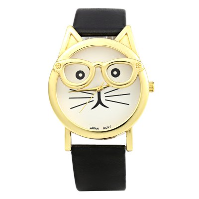 Japan Quartz Watch Cat Shape Dial with Glasses for WomenWomens Watches<br>Japan Quartz Watch Cat Shape Dial with Glasses for Women<br><br>Watches categories: Female table<br>Watch style: Fashion<br>Available color: Black,Brown,Red,White<br>Movement type: Quartz watch<br>Shape of the dial: Cat shape<br>Display type: Analog<br>Case material: Stainless Steel<br>Band material: Leather<br>Clasp type: Pin buckle<br>Dial size: 3.7 x 3.7 x 0.9 cm / 1.46 x 1.46 x 0.35 inches<br>Band size: 24.0 x 1.8 cm / 9.45 x 0.71 inches<br>Wearable length: 18.0 - 22.0 cm / 7.09 - 8.66 inches<br>Product weight: 0.032 kg<br>Package weight: 0.062 kg<br>Product size (L x W x H): 24.00 x 4.00 x 0.90 cm / 9.45 x 1.57 x 0.35 inches<br>Package size (L x W x H): 25.00 x 5.00 x 1.90 cm / 9.84 x 1.97 x 0.75 inches<br>Package Contents: 1 x Female Watch