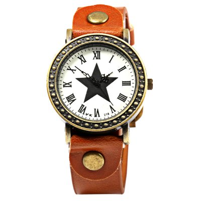218 Women Quartz Watch with Leather Watchband Star PatternWomens Watches<br>218 Women Quartz Watch with Leather Watchband Star Pattern<br><br>Watches categories: Female table<br>Watch color: Brown, Coffee, Red, Black<br>Movement type: Quartz watch<br>Shape of the dial: Round<br>Display type: Analog<br>Case material: Stainless Steel<br>Band material: Leather<br>Clasp type: Pin buckle<br>Dial size: 3.5 x 3.5 x 0.9 cm / 1.38 x 1.38 x 0.35 inches<br>Band size: 24.5 x 1.7 cm / 9.65 x 0.67 inches<br>Wearable length: 18.2 - 22.5 cm / 7.17 - 8.86 inches<br>Product weight: 0.036 kg<br>Package weight: 0.066 kg<br>Product size (L x W x H): 24.50 x 4.00 x 0.90 cm / 9.65 x 1.57 x 0.35 inches<br>Package size (L x W x H): 25.50 x 5.00 x 1.90 cm / 10.04 x 1.97 x 0.75 inches<br>Package Contents: 1 x Female Watch