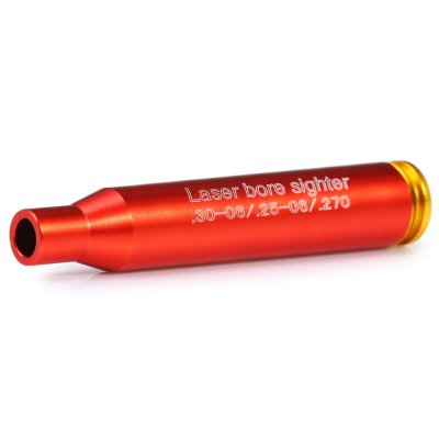 30-06 / .25-06 / .270WIN Laser Bore Sighter 635 - 655nm 5mwLaser Pointer<br>30-06 / .25-06 / .270WIN Laser Bore Sighter 635 - 655nm 5mw<br><br>Type: Laser Bore Sighter<br>Material: Aluminum Alloy<br>Application: Aiming and Shooting<br>Laser Color: Red<br>Wavelength (nm): 635-655<br>Body Color: Red<br>Battery included: Yes<br>Battery Type: L936<br>Number of Batteries: 3<br>Output Power (W): 5mw<br>Product weight: 0.013 kg<br>Package weight: 0.025 kg<br>Product size (L x W x H): 6.40 x 1.20 x 1.20 cm / 2.52 x 0.47 x 0.47 inches<br>Package size (L x W x H): 10.00 x 7.00 x 2.20 cm / 3.94 x 2.76 x 0.87 inches<br>Package Content: 1 x Laser Bore Sighter, 1 x English Manual, 3 x L936 Battery