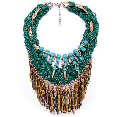 WQ009 Luxury Twisted Tassel Alloy Necklace for Ladies