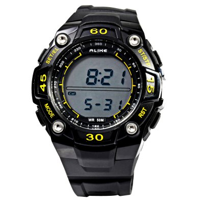 Alike A14106 LED Multi-function Male Sport Watch with PedometerSports Watches<br>Alike A14106 LED Multi-function Male Sport Watch with Pedometer<br><br>Brand: Alike<br>People: Male table<br>Watch style: LED,Outdoor Sports<br>Available color: Black,Blue,Red,Yellow<br>Movement type: Digital watch<br>Shape of the dial: Round<br>Display type: Digital<br>Hour formats: 12/24 Hour<br>Case material: PC<br>Band material: PU<br>Clasp type: Pin buckle<br>Special features: Alarm Clock,Date,EL Back-light,Pedometer,Stopwatch<br>Water resistance : 50 meters<br>Dial size: 4.5 x 4.5 x 1.4 cm / 1.77 x 1.77 x 0.55 inches<br>Band size: 25.5 x 2.0 cm / 10.04 x 0.79 inches<br>Wearable length: 14.5 - 22.0 cm / 5.71 - 8.66 inches<br>Product weight: 0.052 kg<br>Package weight: 0.082 kg<br>Product size (L x W x H): 24.00 x 4.70 x 1.40 cm / 9.45 x 1.85 x 0.55 inches<br>Package size (L x W x H): 25.00 x 5.70 x 2.40 cm / 9.84 x 2.24 x 0.94 inches<br>Package Contents: 1 x ALIKE A14106 Watch