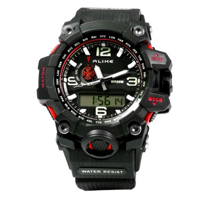 Alike AK15116 LED Dual Movt Multi-function Male Sport WatchSports Watches<br>Alike AK15116 LED Dual Movt Multi-function Male Sport Watch<br><br>Brand: Alike<br>People: Male table<br>Watch style: LED,Outdoor Sports<br>Available color: Black,Blue,Green,Orange,Red<br>Movement type: Quartz + digital watch<br>Shape of the dial: Round<br>Display type: Analog-Digital<br>Hour formats: 12/24 Hour<br>Case material: PC<br>Band material: PU<br>Clasp type: Pin buckle<br>Special features: Alarm Clock,Date,Day,Stopwatch<br>Water resistance : 50 meters<br>Dial size: 4.5 x 4.5 x 1.7 cm / 1.77 x 1.77 x 0.67 inches<br>Band size: 25.5 x 2.5 cm / 10.04 x 0.98 inches<br>Wearable length: 17.0 - 24.0 cm / 6.69 - 9.45 inches<br>Product weight: 0.077KG<br>Package weight: 0.107 KG<br>Product size (L x W x H): 25.50 x 5.50 x 1.70 cm / 10.04 x 2.17 x 0.67 inches<br>Package size (L x W x H): 26.50 x 6.50 x 2.70 cm / 10.43 x 2.56 x 1.06 inches<br>Package Contents: 1 x ALIKE AK15116 Watch