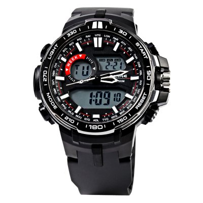 Alike AK15115 LED Dual Movt Multi-function Male Sport WatchSports Watches<br>Alike AK15115 LED Dual Movt Multi-function Male Sport Watch<br><br>Brand: Alike<br>People: Male table<br>Watch style: LED,Outdoor Sports<br>Available color: Blue,Gold,Green,Red,Rose Gold,Silver<br>Movement type: Quartz + digital watch<br>Shape of the dial: Round<br>Display type: Analog-Digital<br>Hour formats: 12/24 Hour<br>Case material: PC<br>Band material: PU<br>Clasp type: Pin buckle<br>Special features: Alarm Clock,Date,Day,EL Back-light,Stopwatch<br>Water resistance : 50 meters<br>Dial size: 4.5 x 4.5 x 1.5 cm / 1.77 x 1.77 x 0.59 inches<br>Band size: 24.5 x 2.0 cm / 9.65 x 0.79 inches<br>Wearable length: 15.5 - 22.5 cm / 6.10 - 8.86 inches<br>Product weight: 0.062KG<br>Package weight: 0.092 KG<br>Product size (L x W x H): 24.50 x 5.00 x 1.50 cm / 9.65 x 1.97 x 0.59 inches<br>Package size (L x W x H): 25.50 x 6.00 x 2.50 cm / 10.04 x 2.36 x 0.98 inches<br>Package Contents: 1 x ALIKE AK15115 Watch