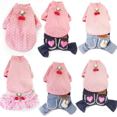 Cute Dog Strap Pants Jeans Pet Denim Jumpsuit Clothes