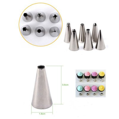 6PCS Stainless Steel Cake Nozzles Pastry Squeezer Tool