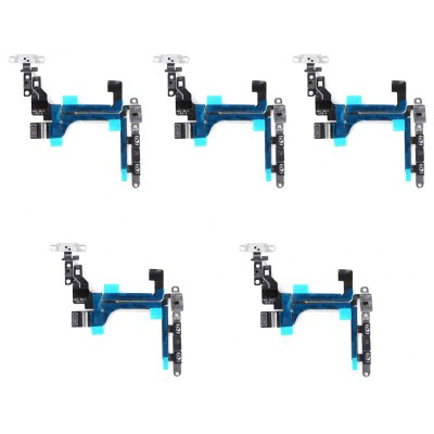 5 Set On / OFF Power Mute Volume Button With Brackets Flex Cable Repair Components for iPhone 5C