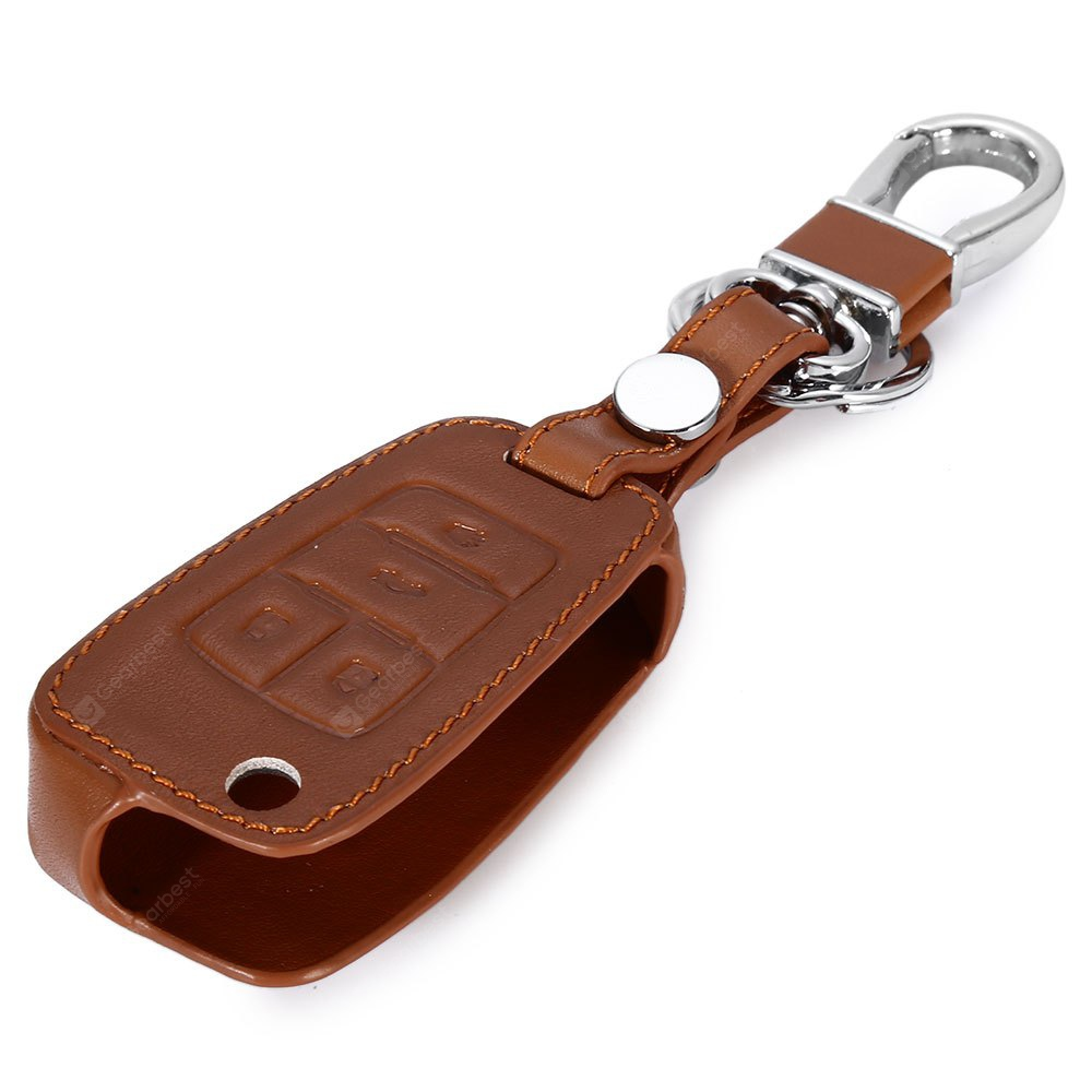 Leather Car Remote Key Holder Case Chevrolet BROWN