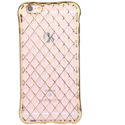 Woven Pattern TPU Back Case for iPhone 6 / 6S Anti-knock with Electroplated Frame