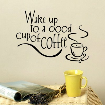 PVC Wake Up To Letter Pattern Wallpaper Removable Water Resistant Sticker