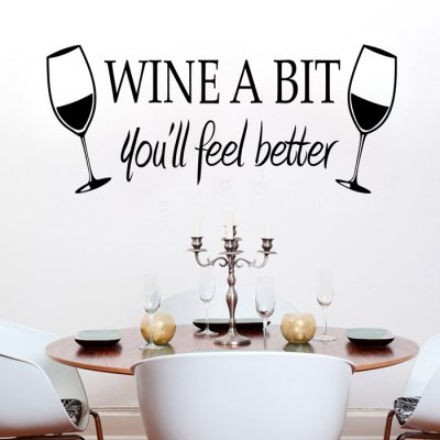 PVC Wine Glass Style Wall Stickers Water Resistant Art Decor