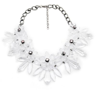 WQ040 Delicate Rhinestone Flower Necklace for Women