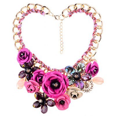 WQ022 Luxury Rhinestone Flower Design Necklace for Ladies
