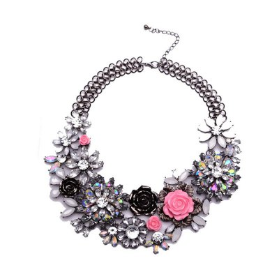 WQ016 Luxury Crystal Flower Design Necklace for Women