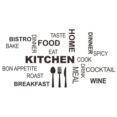 PVC Kitchen Cook Letter Style Wall Stickers