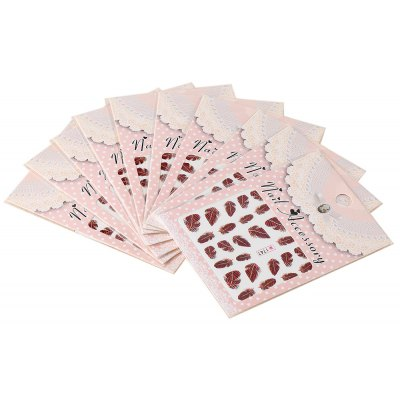 10pcs Art Tips Feather Water Transfers Nail Sticker for Ladies
