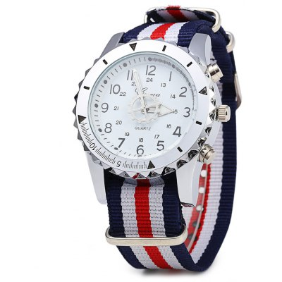 Geneva 422 Double Scale Men Quartz Watch with Canvas Band