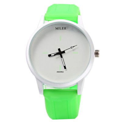 MILER A503902 Candy Colors Male Quartz WatchMens Watches<br>MILER A503902 Candy Colors Male Quartz Watch<br><br>Brand: Miler<br>Watches categories: Male table<br>Watch style: Casual<br>Available color: Red<br>Watch color: White, Pink and white, Green, Black, Rose, Pink, Red, Lake blue, Purple, Green and white, Red and white<br>Movement type: Quartz watch<br>Shape of the dial: Round<br>Display type: Analog<br>Case material: Stainless Steel<br>Band material: Rubber<br>Clasp type: Pin buckle<br>Dial size: 4.0 x 4.0 x 1.0 cm / 1.57 x 1.57 x 0.39 inches<br>Band size: 25.0 x 2.0 cm / 9.84 x 0.79 inches<br>Wearable length: 17.5 - 23.5 cm / 6.89 - 9.25 inches<br>Product weight: 0.060 kg<br>Package weight: 0.090 kg<br>Product size (L x W x H): 25.00 x 4.20 x 1.00 cm / 9.84 x 1.65 x 0.39 inches<br>Package size (L x W x H): 26.00 x 5.20 x 2.00 cm / 10.24 x 2.05 x 0.79 inches<br>Package Contents: 1 x MILER A503902 Watch
