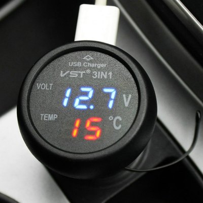 VST B7006 12 - 24V Car Voltmeter Thermometer Temperature Gauge USB Charger