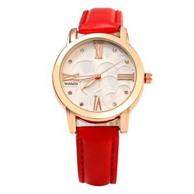 Womage 1142A Diamond Scale Ladies Flower Quartz WatchWomens Watches<br>Womage 1142A Diamond Scale Ladies Flower Quartz Watch<br><br>Brand: WoMaGe<br>Watches categories: Female table<br>Watch style: Fashion<br>Available color: Black,Brown,Purple,Red,Rose,White<br>Movement type: Quartz watch<br>Shape of the dial: Round<br>Display type: Analog<br>Case material: Stainless Steel<br>Band material: Genuine Leather<br>Clasp type: Pin buckle<br>Dial size: 3.5 x 3.5 x 0.8 cm / 1.38 x 1.38 x 0.31 inches<br>Band size: 24.0 x 1.5 cm / 9.45 x 0.59 inches<br>Wearable length: 18.0 - 21.8 cm / 7.09 - 8.58 inches<br>Product weight: 0.030 kg<br>Package weight: 0.060 kg<br>Product size (L x W x H): 24.00 x 3.80 x 0.80 cm / 9.45 x 1.50 x 0.31 inches<br>Package size (L x W x H): 25.00 x 4.80 x 1.80 cm / 9.84 x 1.89 x 0.71 inches<br>Package Contents: 1 x Female Watch